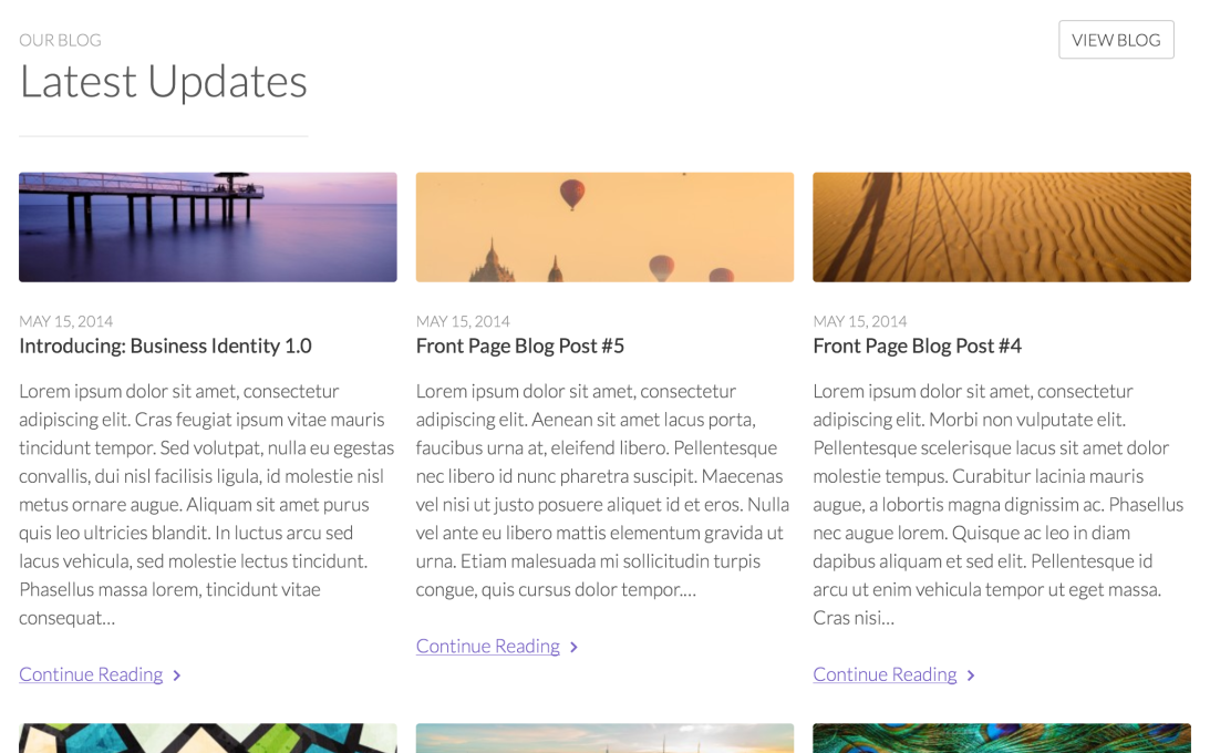 Tablet: Front Page Blog in Landscape Mode