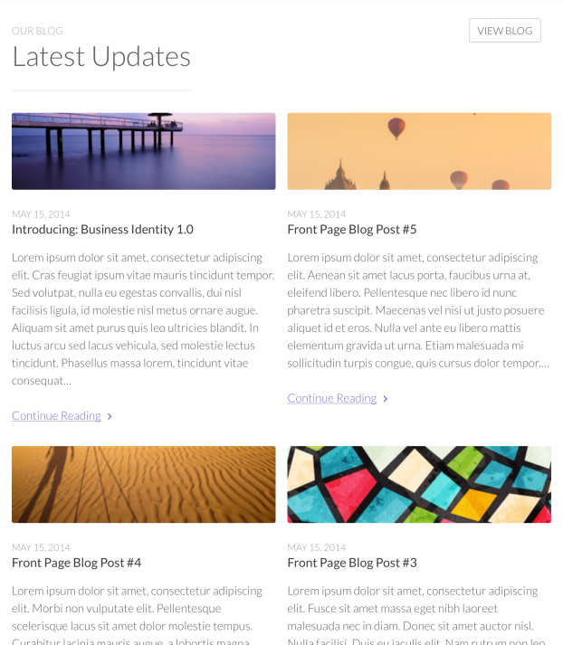 Tablet: Front Page Blog