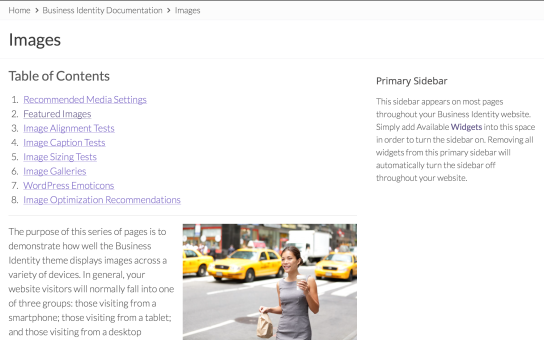 Tablet: Page Content Example in Landscape Mode